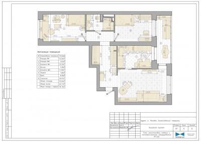 План расстановки мебели и сантехнического оборудования